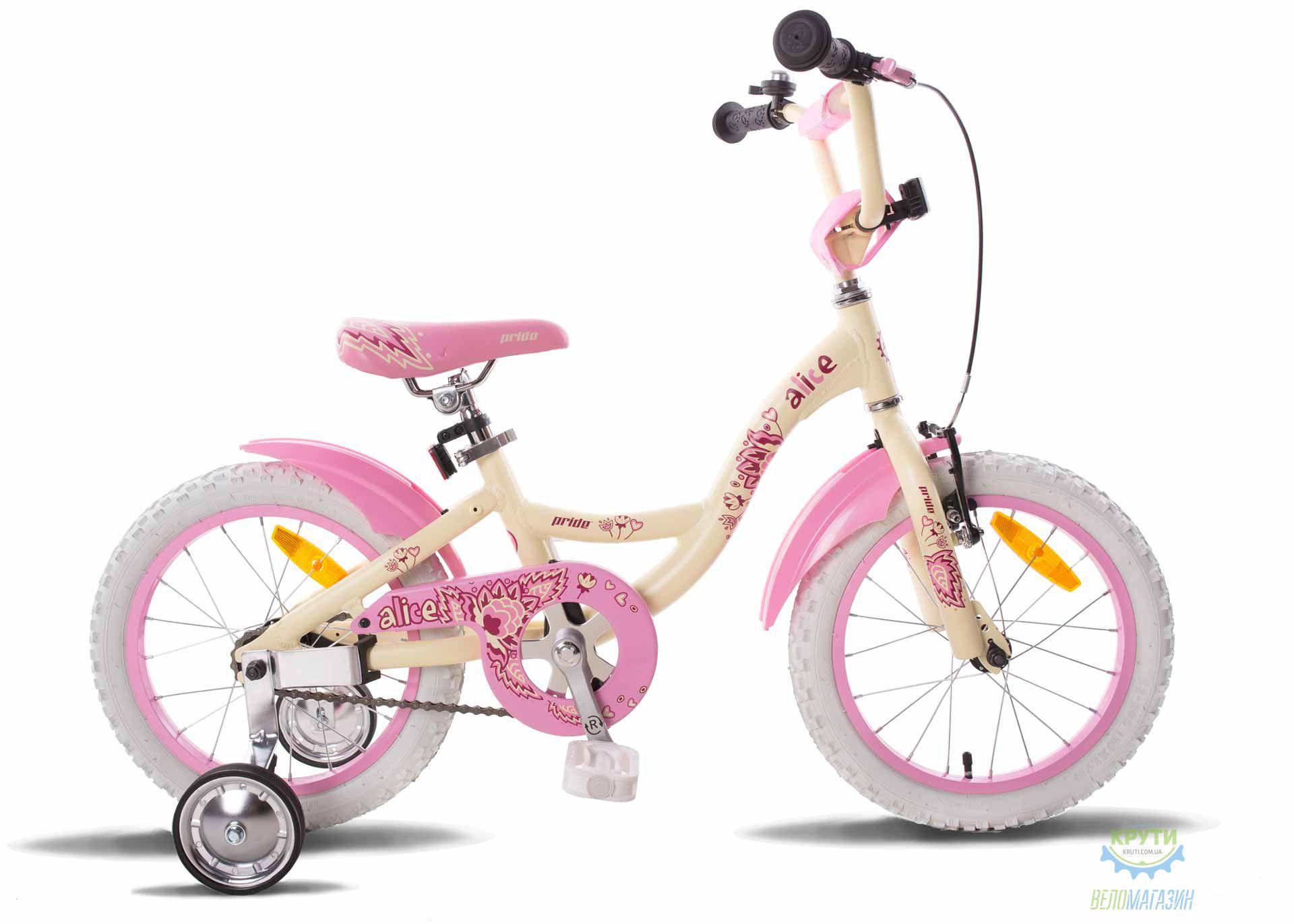 Велосипед 16 PRIDE ALICE бежево-розовый 2015