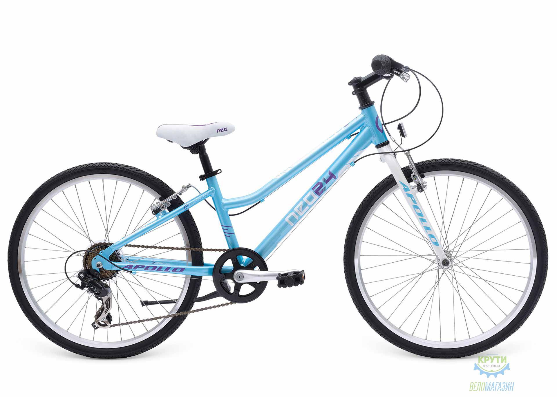 Велосипед 24 APOLLO Neo Girls Geared Gloss Sky Blue / Gloss White / Gloss Lavender 2017