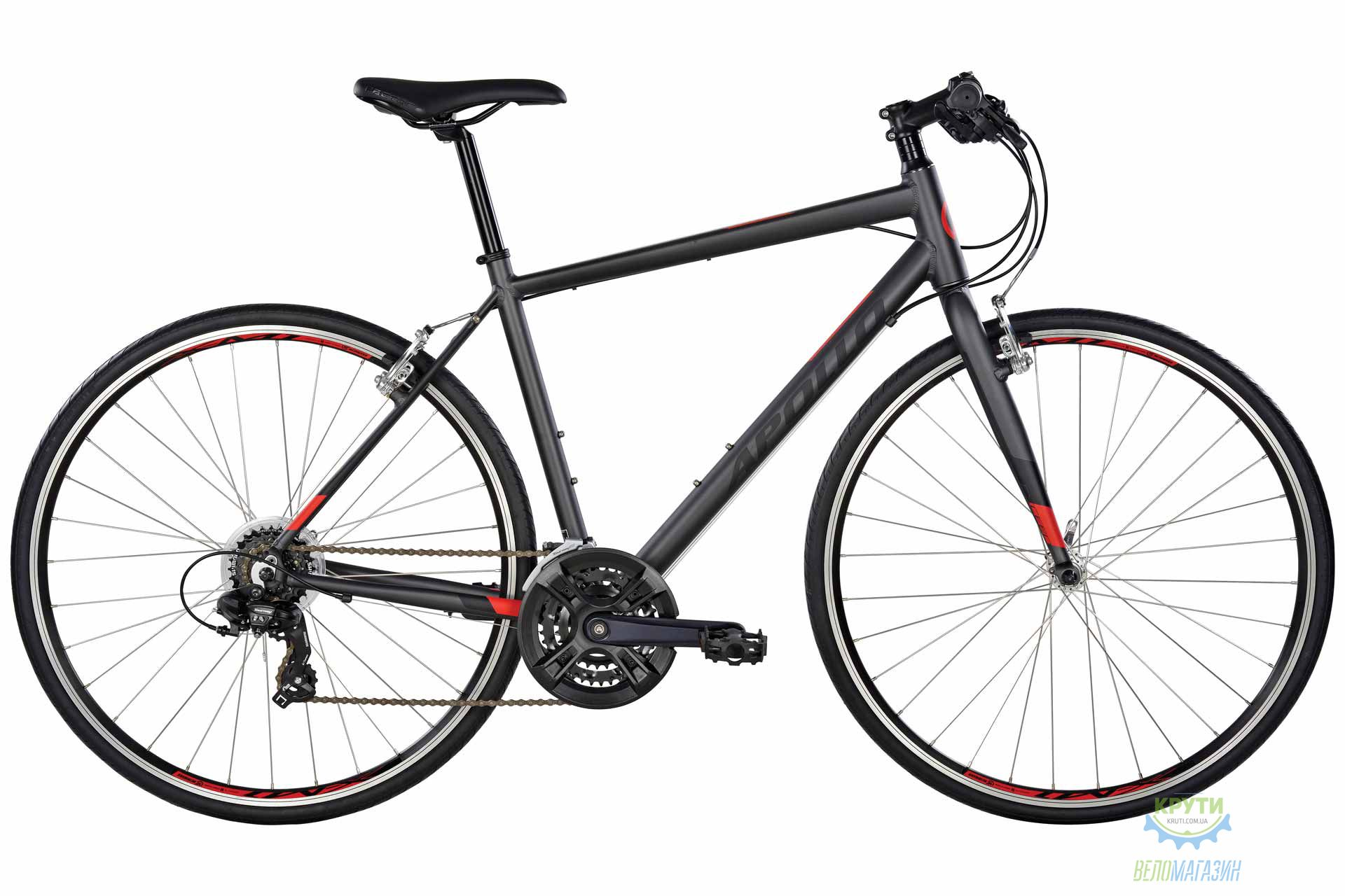 Велосипед 28 Apollo Exceed 10 рама - XL Matte Charcoal/Matte Black/Matte Red 2017