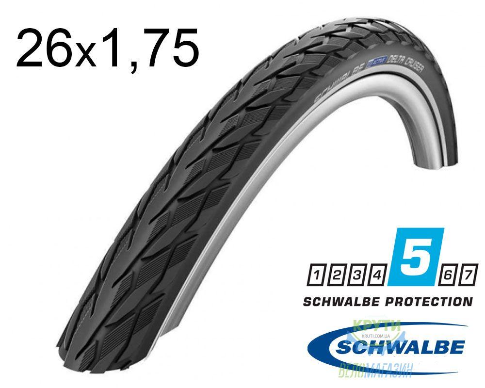 Покрышка 26x1.75 (47x559) Schwalbe DELTA CRUISER PLUS HS431 PunctureGuard B/B+RT SBC