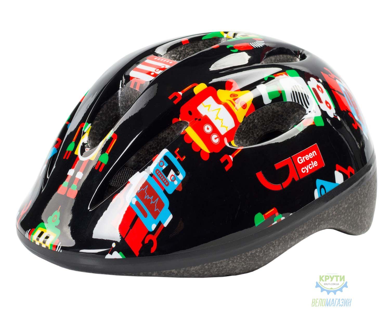 Шлем детский Green Cycle Robots размер 50-54см черный