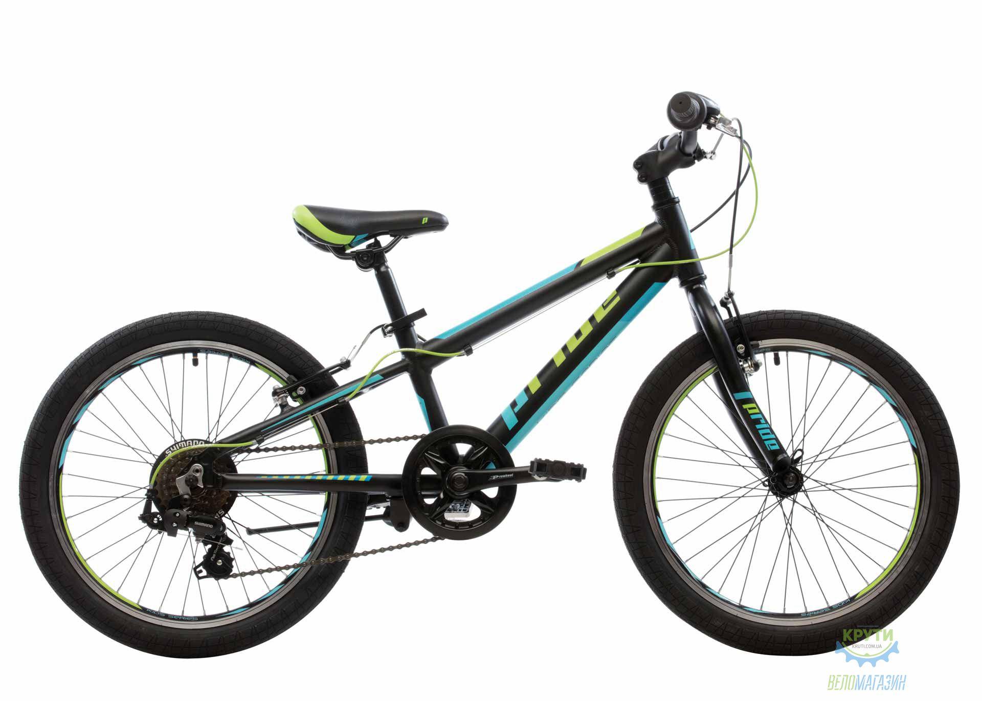 Велосипед 20 Pride Johnny  Чёрный/голубой/салатовый Мат 2019
