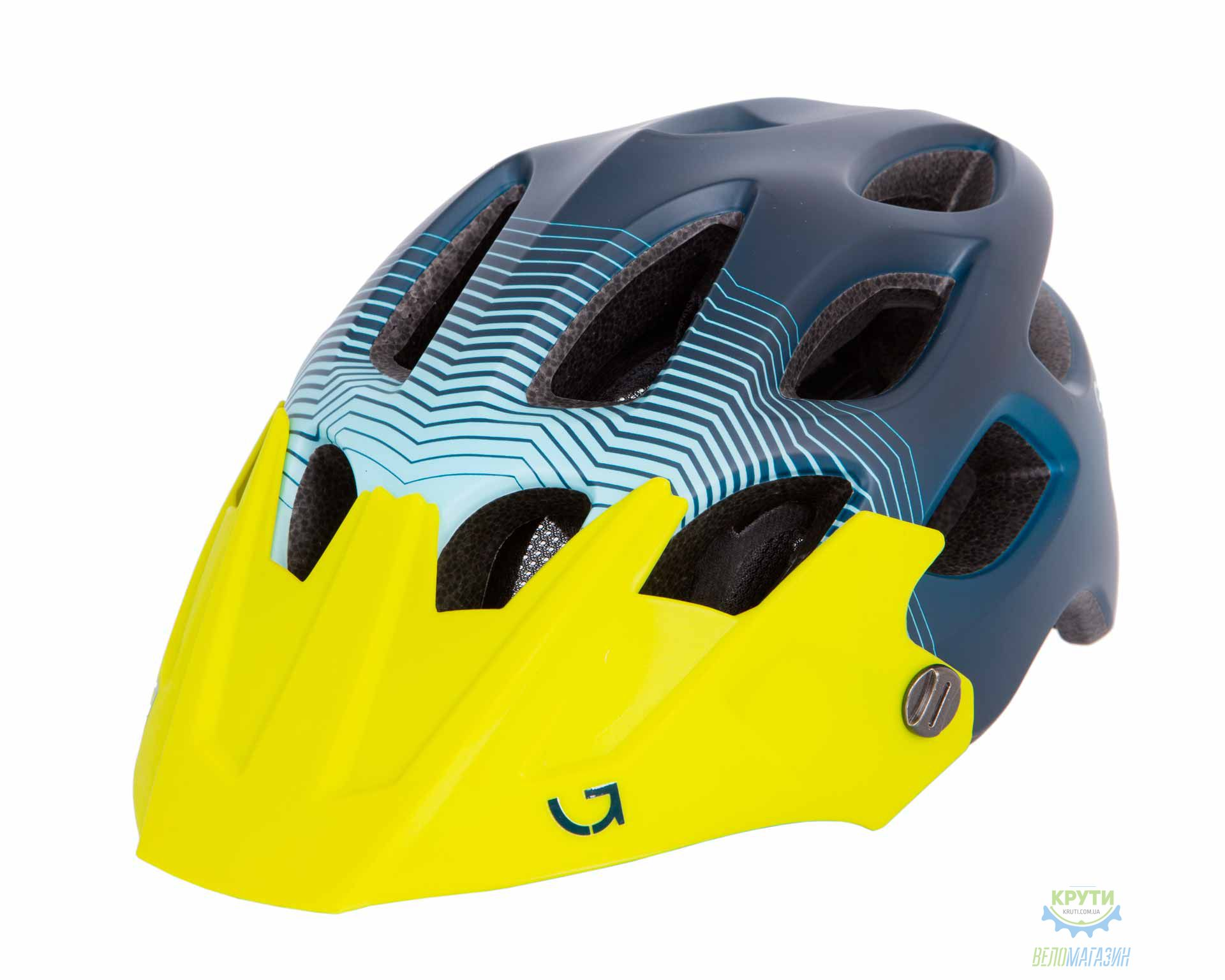 Шлем Green Cycle Slash размер 54-58см синий-голубой-желтый матовый