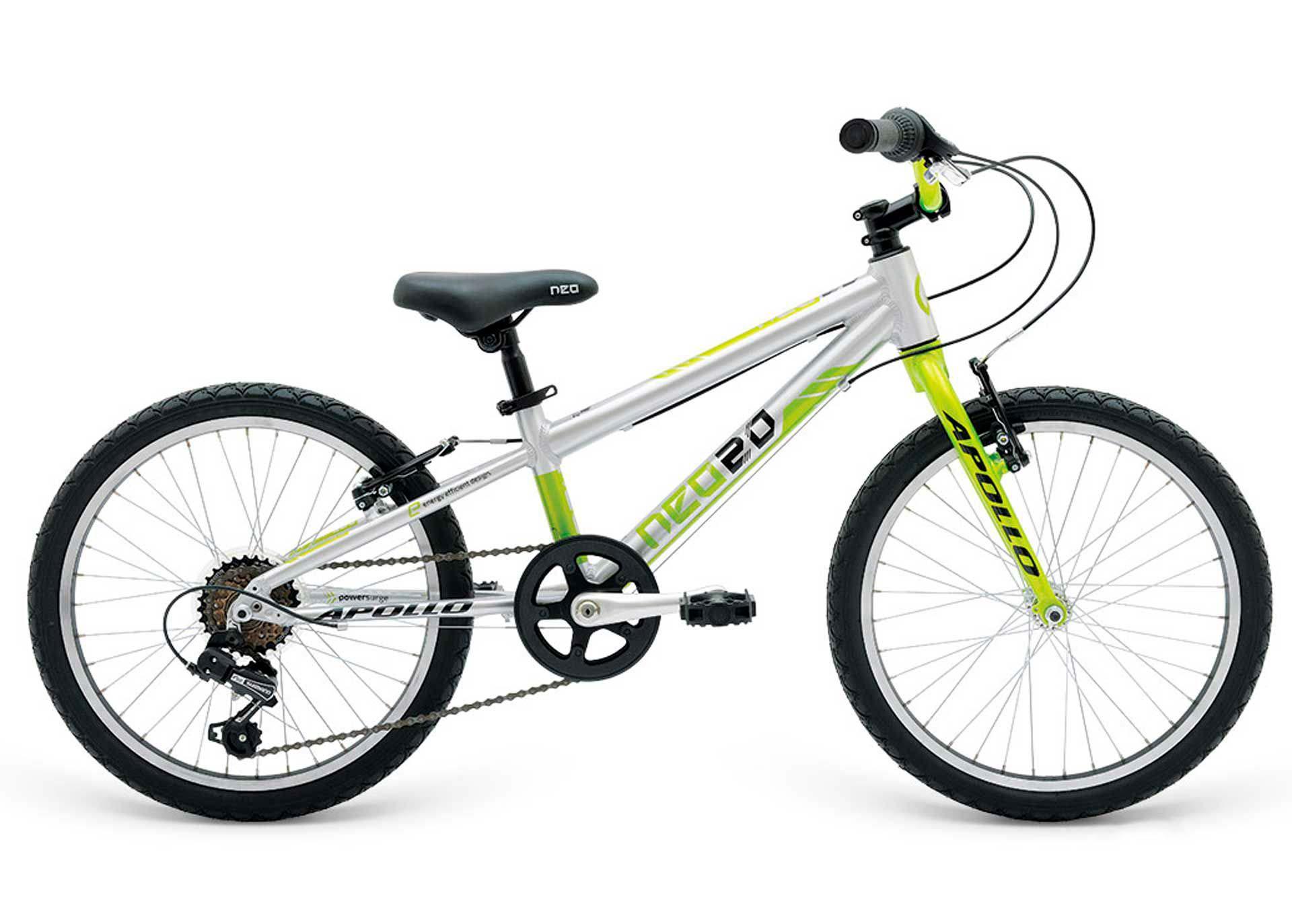 Велосипед 20 Apollo Neo 6s boys Brushed Alloy / Lime / Black 2018