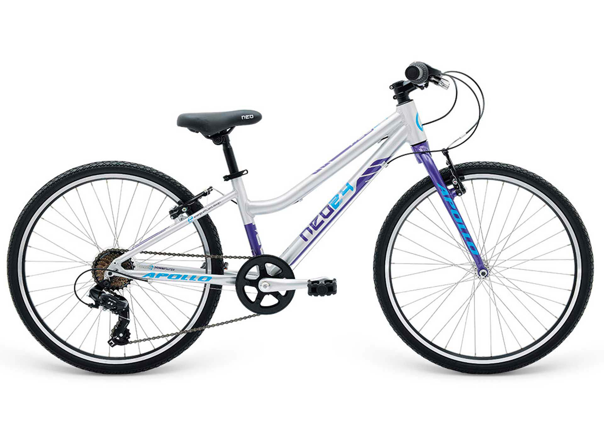 Велосипед 24 Apollo Neo 7s girls Brushed Alloy / Purple / Blue 2018