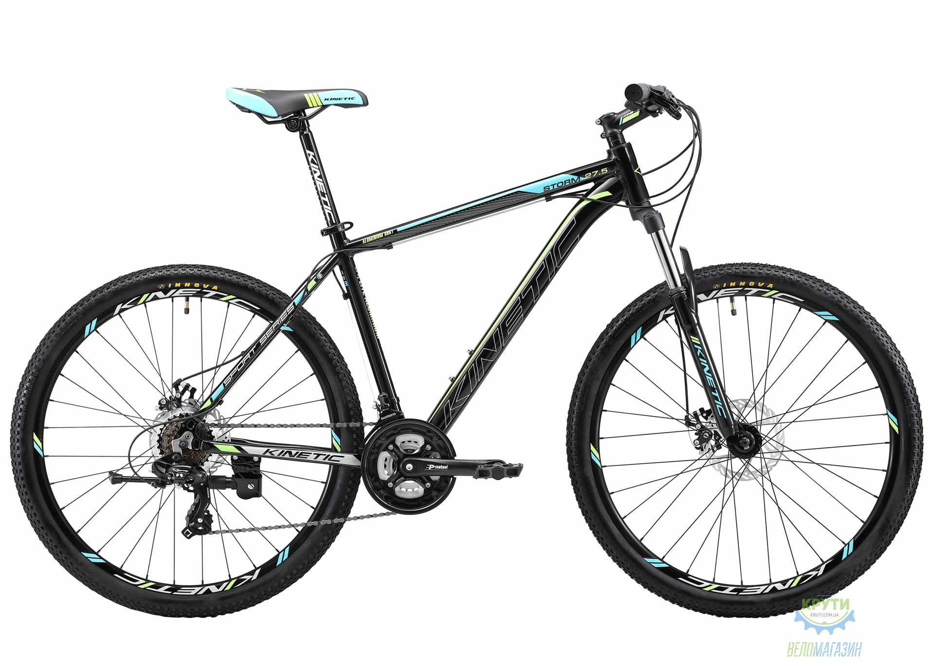 Велосипед 27,5 Kinetic Storm Рама - 21 Черно-Голубой 2018