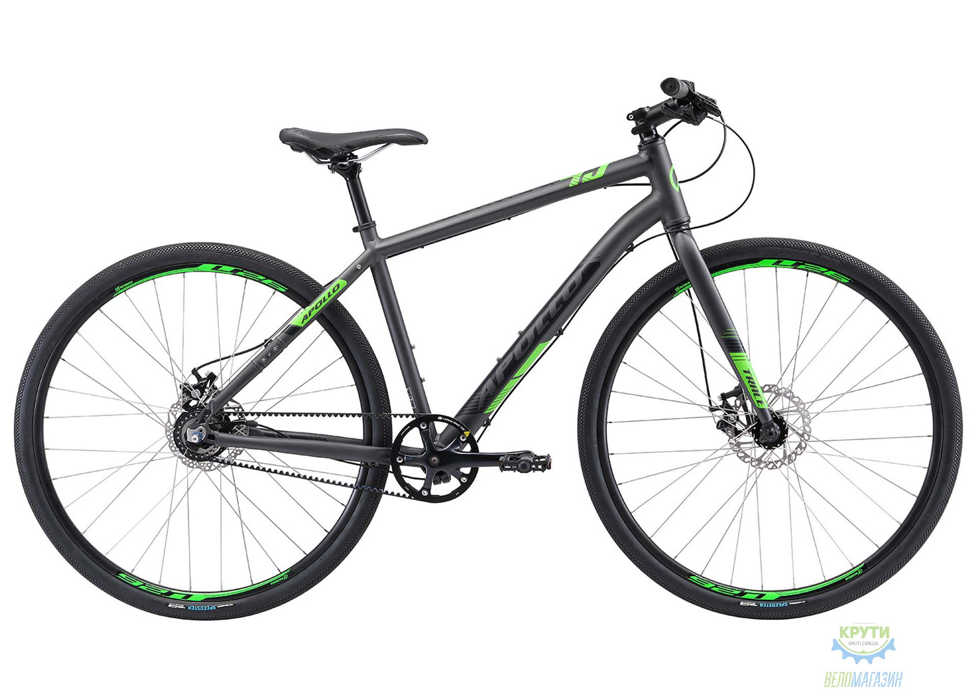 Велосипед 28 Apollo TRACE 45 рама - XL matte charcoal/matte black/matte neon green ременная передача