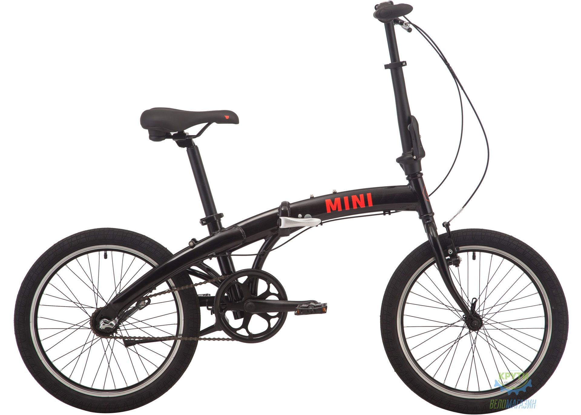 Велосипед 20 Pride MINI 3 черный/ярко-красный 2020