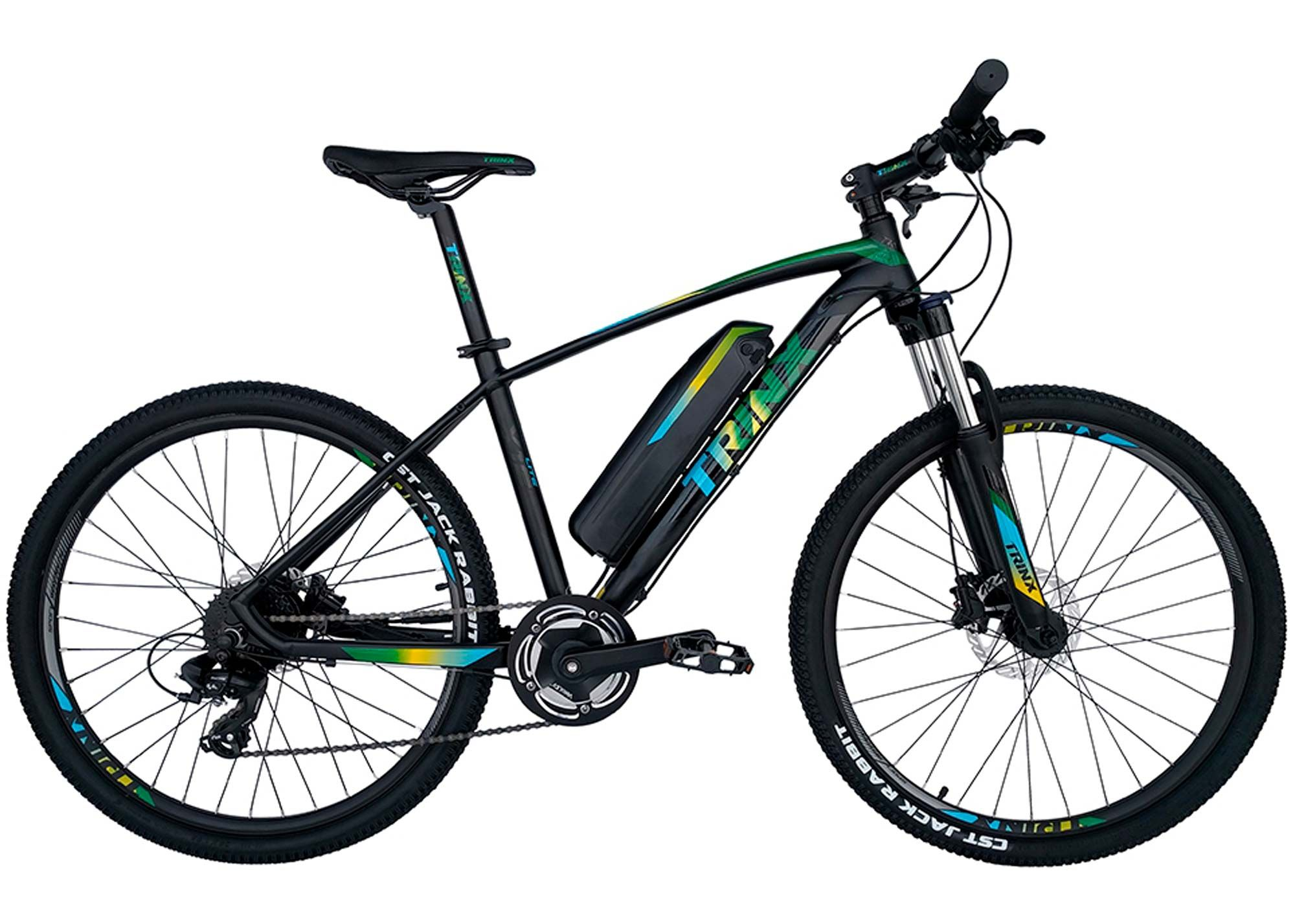 Велосипед Trinx 26 X1E рама - 17 2021 Matt-Black-Green-Blue