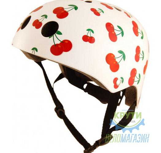 Шлем детский Kiddimoto белый с вишенками, размер S 48-53см
