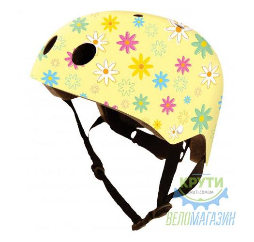 Шлем детский Kiddimoto жёлтый с цветами, размер M 53-58см