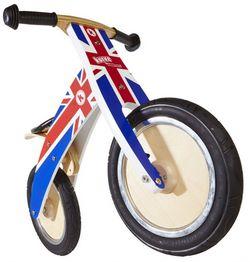 Беговел 12 Kiddimoto Kurve деревянный, британский флаг