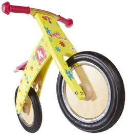 Беговел 12 Kiddy Moto Kurve жёлтый с цветами