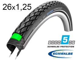 Покрышка 26x1.25 (32x559) Schwalbe MARATHON HS420 Green Guard B+RT EC 67EPI M