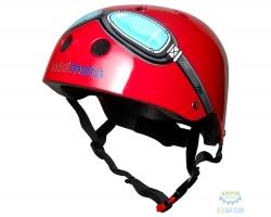 Шлем детский Kiddimoto очки пилота, красный, размер S 48-53см