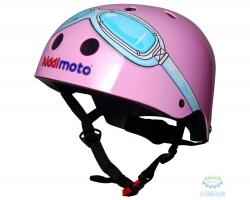 Шлем детский Kiddimoto очки пилота, розовый, размер M 53-58см