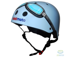 Шлем детский Kiddimoto очки пилота, голубой, размер S 48-53см