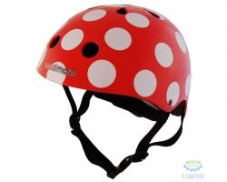 Шлем детский Kiddimoto красный в белый горошек, размер M 53-58см