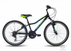 Велосипед 24 Pride Brave 21 Чёрный/голубой/салатовый Мат 2018