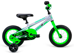 Велосипед 12 Apollo Neo boys Brushed Alloy / Neon Green / Black 2018