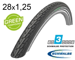 Покрышка 28x1.25 700x32C (32-622) Schwalbe ROAD CRUISER K-Guard Active B/B HS484 GREEN, 50EPI