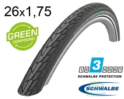 Покрышка 26x1.75 (47-559) Schwalbe ROAD CRUISER K-Guard Active B/B+RT HS484 GREEN 50EPI