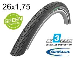 Покрышка 26x1.75 (47-559) Schwalbe ROAD CRUISER K-Guard Active B/B+RT HS484 GREEN, 50EPI