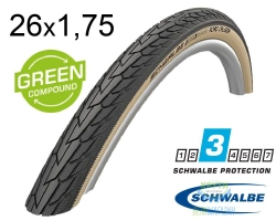 Покрышка 26x1.75 (47-559) Schwalbe ROAD CRUISER K-Guard Active B/G HS484 GREEN 50EPI