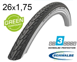 Покрышка 26x1.75 (47-559) Schwalbe ROAD CRUISER K-Guard Active B/W HS484 GREEN, 50EPI
