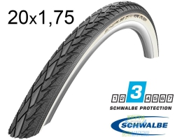 Покрышка 20x1.75 (47-406) Schwalbe ROAD CRUISER K-Guard B/W HS484 green