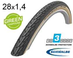 Покрышка 28x1.40 (37-622) 700x35C Schwalbe ROAD CRUISER K-Guard Active B/G HS484 GREEN 50EPI