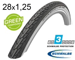 Покрышка 28x1.25 (32-622) 700x32C Schwalbe ROAD CRUISER K-Guard Active B/W HS484 GREEN 50EPI