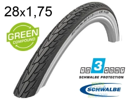 Покрышка 28x1.75 (47-622) Schwalbe ROAD CRUISER K-Guard B/W HS484 GREEN 50EPI