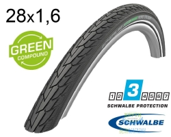 Покрышка 28x1.60 (42-622) 700x40C Schwalbe ROAD CRUISER K-Guard Active B/B+RT HS484 GREEN 50EPI