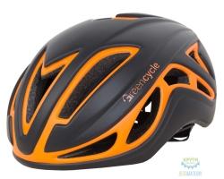 Шлем Green Cycle Jet размер L для шоссе/триатлона и гонок с раздельным стартом черно-оранж матовый