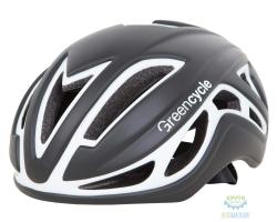 Шлем Green Cycle Jet размер M для шоссе/триатлона и гонок с раздельным стартом черно-белый матовый