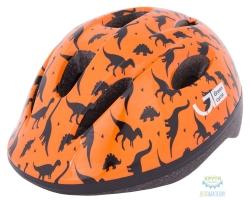 Шлем детский Green Cycle Dino размер 48-52см оранжевый/чёрный лак