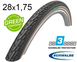 Покрышка 28x1.75 (47-622) Schwalbe ROAD CRUISER K-Guard TwinSkin B/CO+RT HS484 GREEN, 50EPI