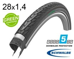 Покрышка 28x1.40 700x35C (37-622) Schwalbe ROAD CRUISER PLUS PunctureGuard, TwinSkin B/B+RT HS484 GREEN 50EPI
