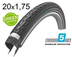 Покрышка 20x1.75 (47-406) Schwalbe ROAD CRUISER PLUS PunctureGuard, TwinSkin B/B+RT HS484 GREEN 50EPI