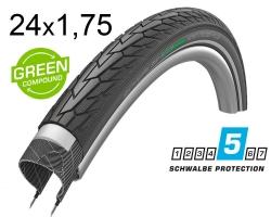 Покрышка 24x1.75 (47-507) Schwalbe ROAD CRUISER PLUS PunctureGuard, TwinSkin B/B+RT HS484 GREEN 50EPI