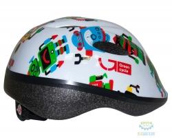 Шлем детский Green Cycle Robots размер 50-54см белый