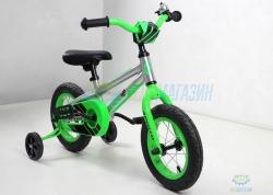Велосипед 12 Apollo Neo boys Brushed Alloy / Neon Green / Black 2018