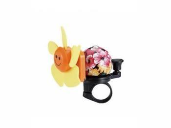 Звонок TW JH-401+1Y (цветок)сигнал с ударным рычагом под большой палец, с пропеллером, желтый