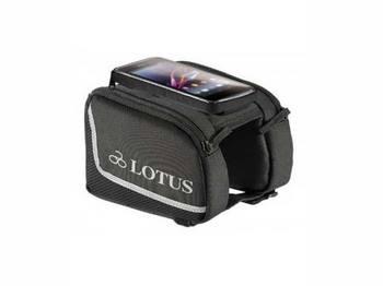 Сумка Lotus SH-P23-L на верхнюю трубу рамы, с чехлом для телефона 5 на липучке. Размер L 8.5x15.8см, черный