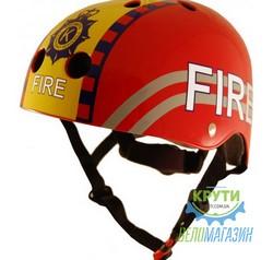 Шлем детский Kiddimoto пожарный, красный, размер M 53-58см