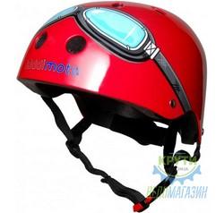 Шлем детский Kiddimoto очки пилота, красный, размер M 53-58см