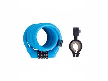 Кодовый замок Green Cycle GCL-А600 в силиконовой обойме с тросом 10х150см синий