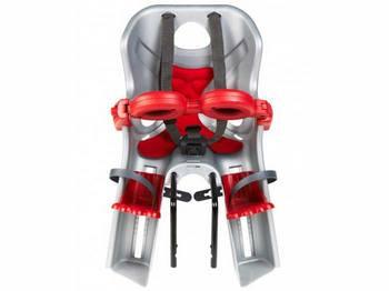 Сиденье пер. Bellelli Freccia Standart B-fix до 15кг, серебристое с красным, с красной подкладкой