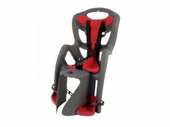 Сиденье задн. Bellelli Pepe Сlamp (на багажник) до 22кг, серое с красной подкладкой